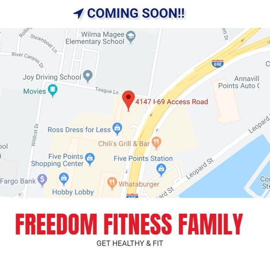 A Freedom Fitness is opening soon in Calallen. The gym will be in the former 5 Star Cinema building at 4147 I-69 Access Road in the Five Points Shopping Center.