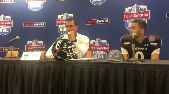 Cincinnati football coach Luke Fickell and quarterback Desmond Ridder discuss the Bearcats' win vs. Boston College in the Birmingham Bowl.