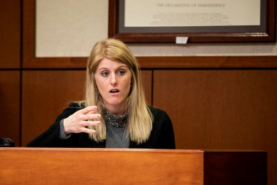 Katherine Schulz, an attorney who served on the GAL panel for Judge Dawn Gentry, testifies at Gentry's hearing at the Jefferson County Judicial Center in Louisville on Friday, January 3, 2020.