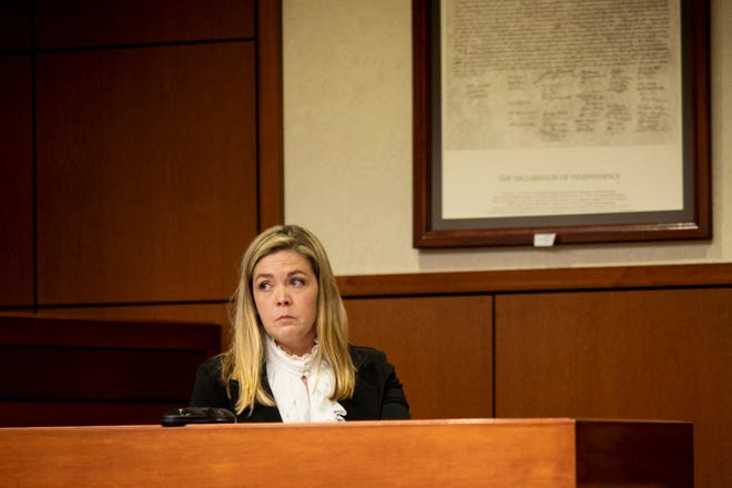 Kenton County Family Court Judge Dawn Gentry testifies at her hearing at the Jefferson County Judicial Center in Louisville on Friday, January 3, 2020. The Kentucky Judicial Conduct Commission is investigating Gentry as she faces 12 charges that accuse her of using sex, campaign contributions, and retaliation as tools in her judgeship.