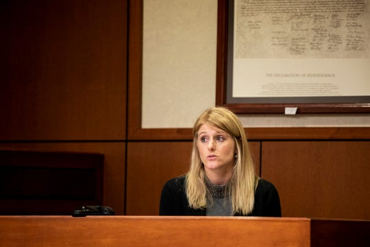 Katherine Schulz, an attorney who served on the GAL panel for Judge Dawn Gentry, testifies at Gentry's hearing at the Jefferson County Judicial Center in Louisville on Friday, January 3, 2020.The Kentucky Judicial Conduct Commission is investigatingGentry as she faces nine charges that accuse her of using sex, campaign contributions, and retaliation as tools in her judgeship.