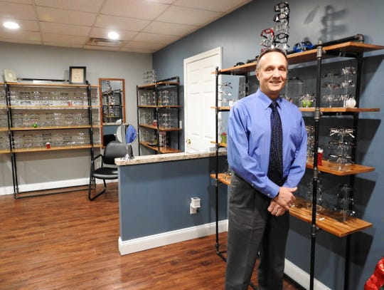 Dr. Charles Fornara recently moved Optics Plus Vision Center from Main Street to Chestnut Street. The space is larger and newer, and has led to expanding the frame and lens area.