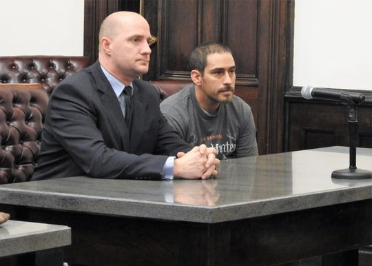 Attorney Kevin Cox with his client Jose Mendoza, 40, of Nashville, Holmes County, Friday in Coshocton County Common Pleas Court. Mendoza received three years of community control sanctions for one count of assault, a fourth-degree felony. This was an amended charge as Mendoza was originally indicted in July on two counts of gross sexual imposition, third-degree felonies.