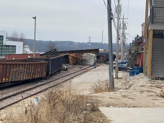 A train derailed on the morning of Friday, Jan. 3, 2020, in downtown LeClaire near a Mississippi River levee. The city is located northeast of Davenport.