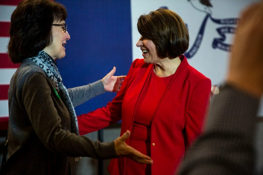 U.S. Sen. Amy Klobuchar greets the crowd after speaking at a campaign event on Friday, Jan. 3, 2020, at the Waterloo Center for the Arts in Waterloo.