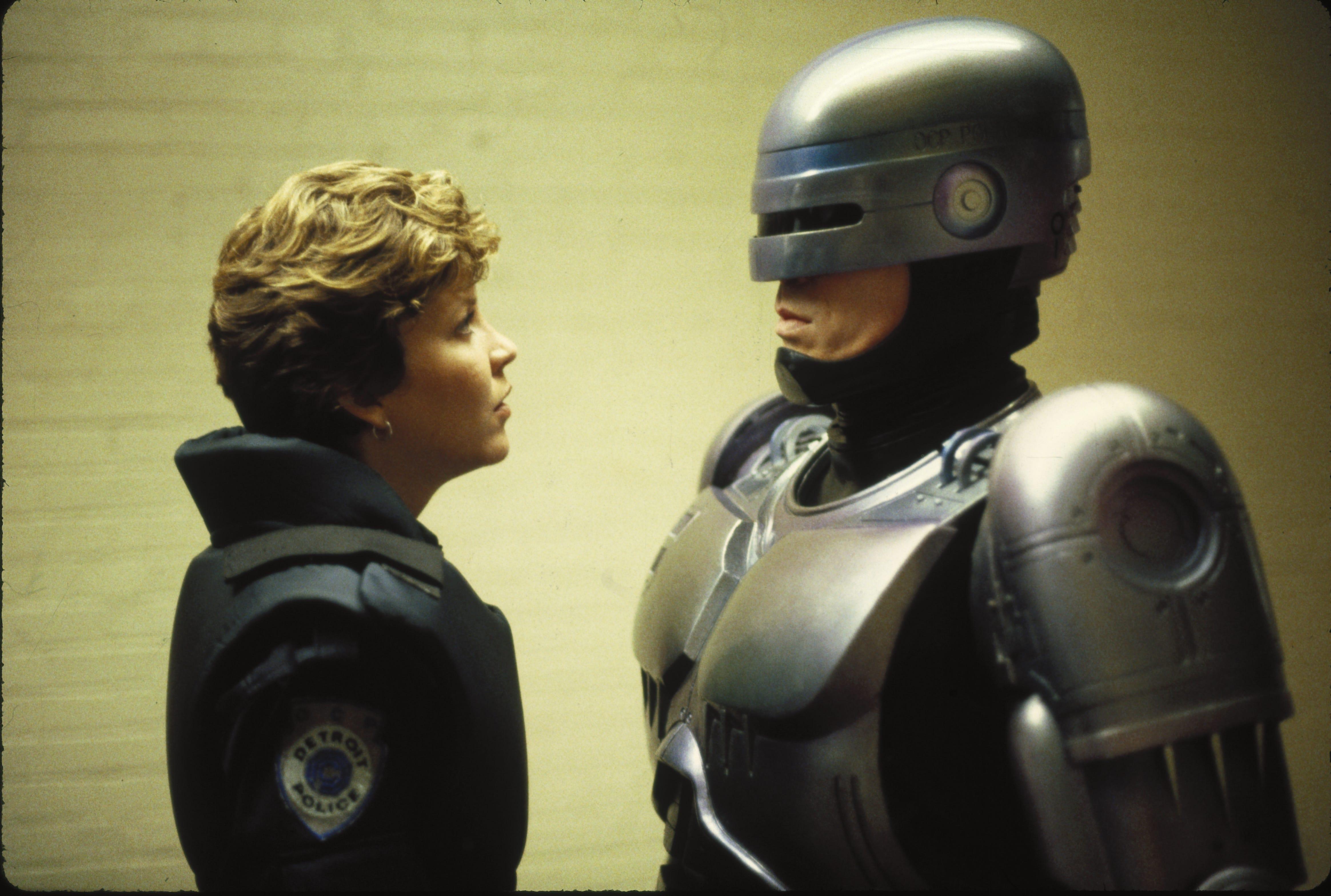 """Nancy Allen and Peter Weller in a scene from the 1987 film """"RoboCop."""""""