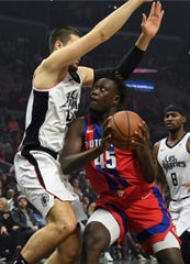 Pistons forward Sekou Doumbouya looks to shoot against Clippers center Ivica Zubac in the first quarter on Thursday, Jan. 2, 2020, in Los Angeles.