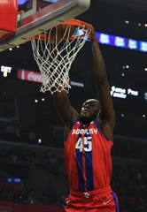 Sekou Doumbouya dunks against the Clippers in the first quarter Thursday.