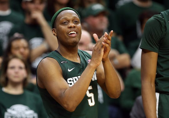 Michigan State guard Cassius Winston reacts from the bench during the second half of MSU's 76-56 win on Thursday, Jan. 2, 2020, in East Lansing.