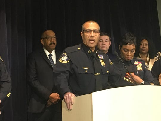 Detroit police chief James Craig, flanked by officials from his department, Wayne State Police and Michigan State Police, discusses 2019 crime statistics during a press conference at Public Safety Headquarters