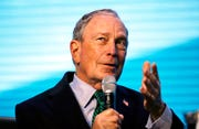 In this Dec. 11, 2019 file photo, Democratic presidential candidate and former New York City Mayor Michael Bloomberg takes part at the American Geophysical Union fall meeting in San Francisco.