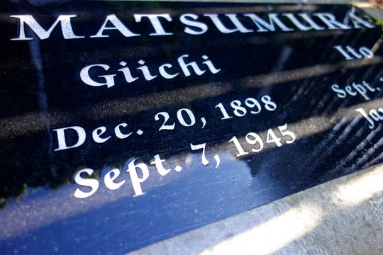 This photo taken Oct. 22, 2019, shows a gravestone in Woodlawn Cemetery in Santa Monica, Calif., that marks the death of Giichi Matsumura, who died in the Sierra Nevada on a fishing trip while he was at the Japanese internment camp at Manzanar.