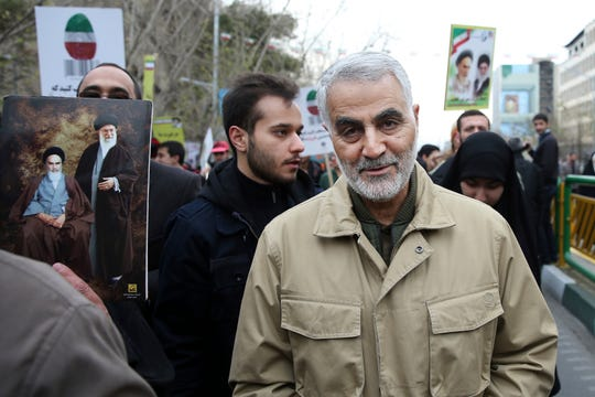 FILE - In this Thursday, Feb. 11, 2016, file photo, Qassem Soleimani, commander of Iran's Quds Force, attends an annual rally commemorating the anniversary of the 1979 Islamic revolution, in Tehran, Iran.