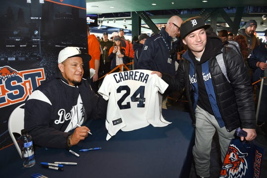 Miguel Cabrera signs autographs during the 2019 TigerFest at Comerica Park.