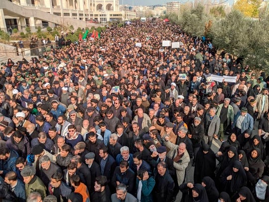 "Protesters demonstrate over the U.S. airstrike in Iraq that killed Iranian Revolutionary Guard Gen. Qassem Soleimani in Tehran, Iran, Jan. 3, 2020. Iran has vowed ""harsh retaliation."""