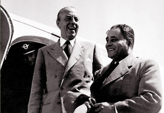 The United Nations mediator in charge of Israeli-Arab conflict Count Folke Bernadotte of  Sweden, left, with the US diplomat Dr. Ralph Bunche in 1948 upon their arrival in Lausanne. Folke Bernadotte was assassinated 17 September 1948 by a Jewish activist from the small extremist Stern Gang and Irgun group.