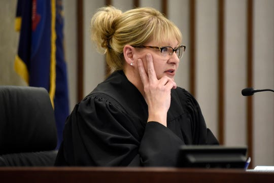 Probate Court Judge Sandra Harrison addresses Fred Smith at Macomb County Circuit Court, Friday, in Mt. Clemens, Michigan.  Harrison wants Smith to account for how he spent $6 million from his mother's estate.