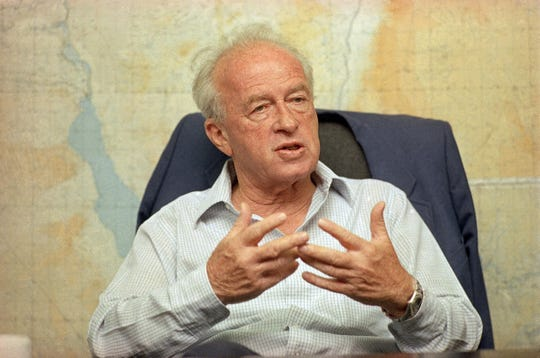 In this file photo dated May 18, 1989, then Israeli Defense Minister Yitzhak Rabin talks with the Associated Press at the Ministry of Defense office, in Tel Aviv, Israel. Rabin's assassin Yigal Amir said in his first media interview since the killing, broadcast Friday, Oct. 31, 2008, that he decided to kill the Israeli prime minister because of warnings by three hawkish ex-generals that Rabin's land-for-peace deal with the Palestinians would bring disaster to Israel. Rabin was shot dead by the ultra-nationalist activist Amir at the end of a peace rally on Nov. 4, 1995.