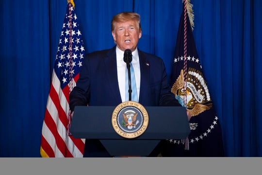 President Donald Trump delivers remarks on Iran, at his Mar-a-Lago property, Friday, Jan. 3, 2020, in Palm Beach, Fla.