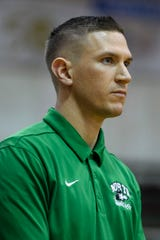 North Head Coach Tyler Choate watches his team take on the Harrison Warriors at Harrison High School in Evansville, Ind., Thursday, Jan. 2, 2020. The Lady Huskies defeated the Warriors, 69-26.