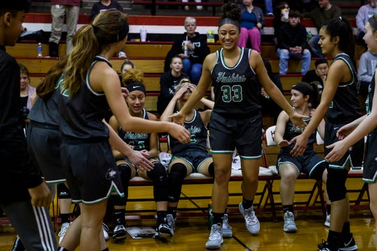 North's Kaliah Neighbors (33) is announced as a starter against the Harrison Warriors at Harrison High School in Evansville, Ind., Thursday, Jan. 2, 2020. The Lady Huskies defeated the Warriors, 69-26.