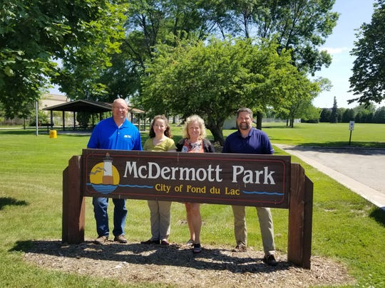 The McDermott Park redevelopment project received a $50,000 grant from Wisconsin Department of Natural Resources. Pictured are, from left: City of Fond du Lac Parks Superintendent John Redmond, Wisconsin Department of Natural Resources Office of Community Financial Assistance Grant Specialist Jessica Terrien, Janelle Anderson of Friends of McDermott Park and Fond du Lac Director of Public Works Jordan Skiff.