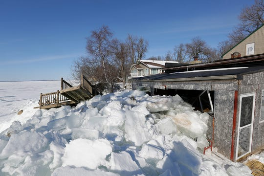 A building north of Stockbridge on the east side of Lake Winnebago sustained major damage from an ice shove on Friday March 3, 2017.