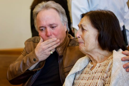 Teresa Sievers' brother Patrick Tottenham and her mom Mary Ann Groves react after Mark Sievers was sentenced to death on Friday, January 3, 2020, in Fort Myers.