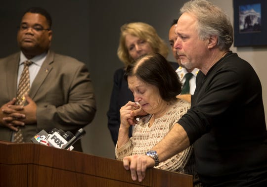 Teresa Sievers' mother and brother Mary Ann Groves and Patrick Tottenham speak at a press conference on Friday, Jan 3, 2020, following the sentencing of Mark Sievers to death for his role in the murder of Teresa.