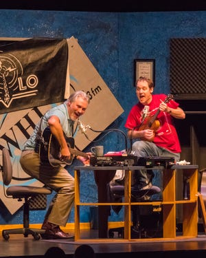 """Doug Forrest and Chase Stoeger perform a scene in Northern Sky Theater's 2017 premiere of """"Naked Radio."""" After losing all of its 2020 shows to the COVID-10 pandemic, the Door County original musical theater company announced it is presenting full seasons for live audiences this summer and fall on its outdoor stage at Peninsula State Park and indoor stage at the Gould Theater in Fish Creek."""