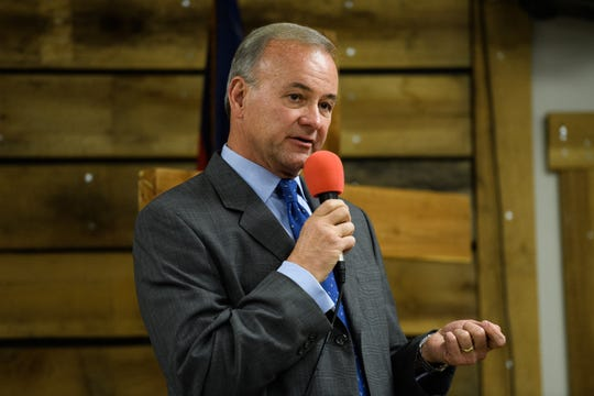 Republican candidate for Greenville County Sheriff A.T. Smith during a debate at Happy Trails Cowboy Church in Pelzer Thursday, Jan 2, 2019.