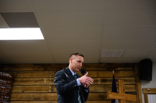 Republican candidate for Greenville County Sheriff Sean Zukowsky during a debate at Happy Trails Cowboy Church in Pelzer Thursday, Jan 2, 2019.
