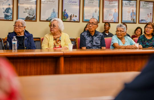 War survivors, their families and others gather for the signing of Bill 181 during a ceremony at Adelup on Friday, Jan. 3, 2020. The legislative measure, later signed into law by Gov. Lou Leon Guerrero, will allow the use of local funds to advance the payment to still-living war survivors whose claims have been adjudicated.