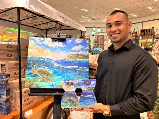 Artist Lee San Nicolas with his cookie box art