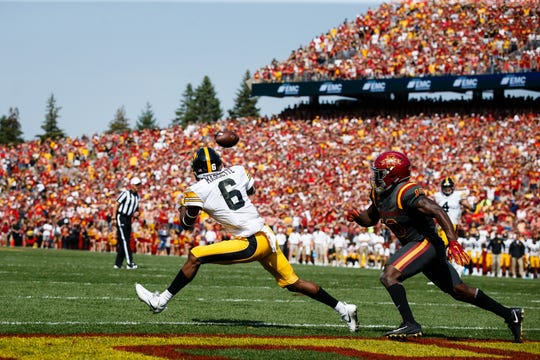 Then an unknown true freshman in his second college game, Ihmir Smith-Marsette catches a pass from Nate Stanley in overtime that beat Iowa State, 44-41.