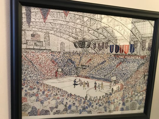 This artwork of Philadelphia's famed Palestra basketball arena hangs in Iowa coach Fran McCaffery's office. It contains the score of every game played at the Palestra.