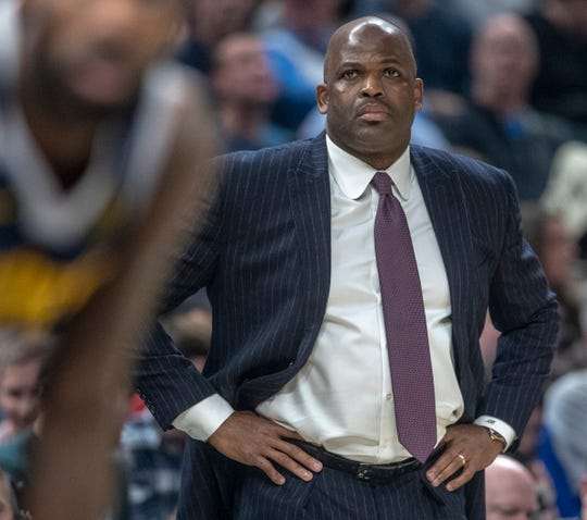 Nate McMillan of the Indiana Pacers, Denver Nuggets at Indiana Pacers, Bankers Life Fieldhouse, Indianapolis, Thursday, Jan. 2, 2020. Indiana lost 124-116.