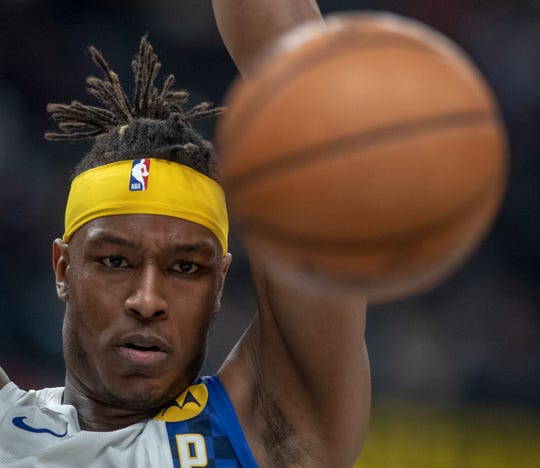 Myles Turner of the Indiana Pacers dunks against Denver Nuggets at Indiana Pacers, Bankers Life Fieldhouse, Indianapolis, Thursday, Jan. 2, 2020. Indiana lost 124-116.