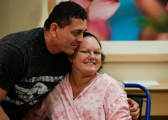 Dawn Gilliam and Jason Tello, parents of twins born in two different decades, smile for media after an interview at Ascension St. Vincent Carmel Hospital at 13500 N. Meridian St., in Carmel, Ind., on Friday, Jan. 3, 2020. Joslyn was born on New Year's Eve 2019 at 11:37 p.m. Jaxon was born on New Year's Day 2020 at 12:07 a.m.