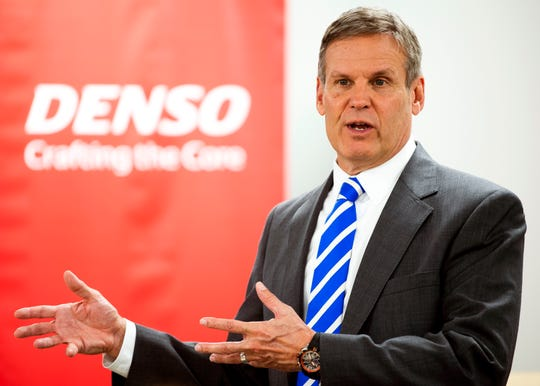 Gov. Bill Lee speaks before going on a tour of DENSO's new Central Region Technical Training Center in Maryville on Friday, January 3, 2020.