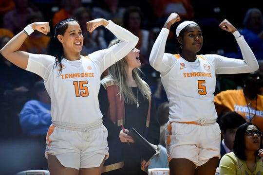 Tennessee's Jaiden McCoy (15) and Kamera Harris (5) cheer their teammates in the NCAA women's basketball game against Missouri at Thompson-Boling Arena on Thursday, January 2, 2020.
