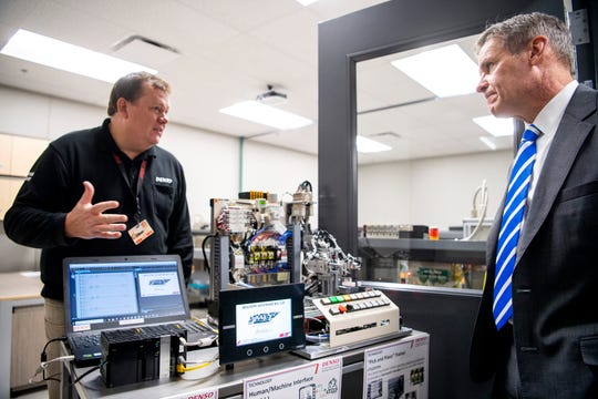 Gov. Bill Lee, right, during a tour of DENSO's new Central Region Technical Training Center in Maryville on Friday, January 3, 2020.