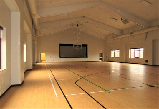 The gymnasium at the new community/senior center at 239 Jamestowne Boulevard is striped for basketball, volleyball and pickleball.  It will be shared by both centers and can be rented for other events.