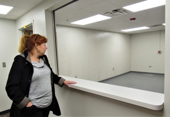 """Sue Stuhl has managed the details of the community center from its inception.  Looking over a reception area on January 3, she said, """"It's coming together, but there is still a lot of work to be done."""""""