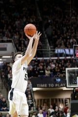 Purdue guard Sasha Stefanovic (55) goes up for three during the first half of a NCAA men's basketball game, Thursday, Jan. 2, 2020 at Mackey Arena in West Lafayette.