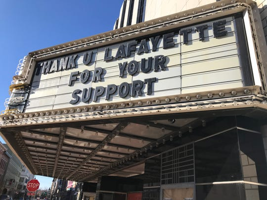 The marquee outside the Lafayette Theater provided a farewell at the end of 2019 from Nick Perez, who managed the theater and is stepping aside as the city of Lafayette takes over Jan. 8, 2020, at the venue at Sixth and Main streets in downtown Lafayette.