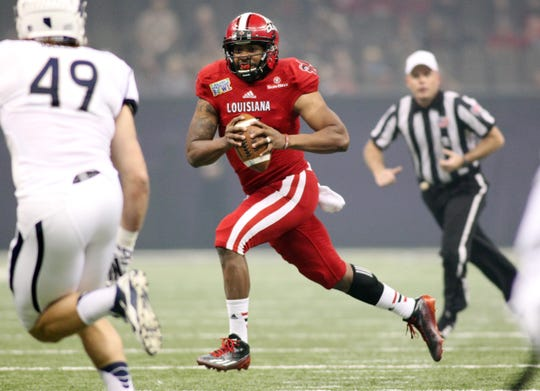 Former UL quarterback Terrance Broadway won MVP honors at the New Orleans Bowl twice, in once in 2012 and again in 2014.