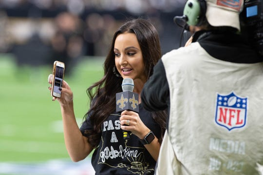 Carley McCord on the sidelines as The New Orleans Saints take on the Dallas Cowboys in the Mecedes-Benz Superdome.