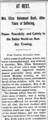 A December 14, 1901 Lancaster Gazette obituary for Mrs. Eliza Beck.