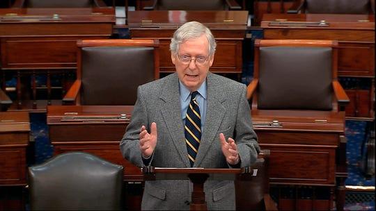 Senate Majority Leader Mitch McConnell of Kentucky speaks on the Senate floor on Jan. 3, 2020, at the Capitol in Washington. (Senate TV via AP)
